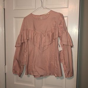 Pink Pleated Canvas Blouse NWT